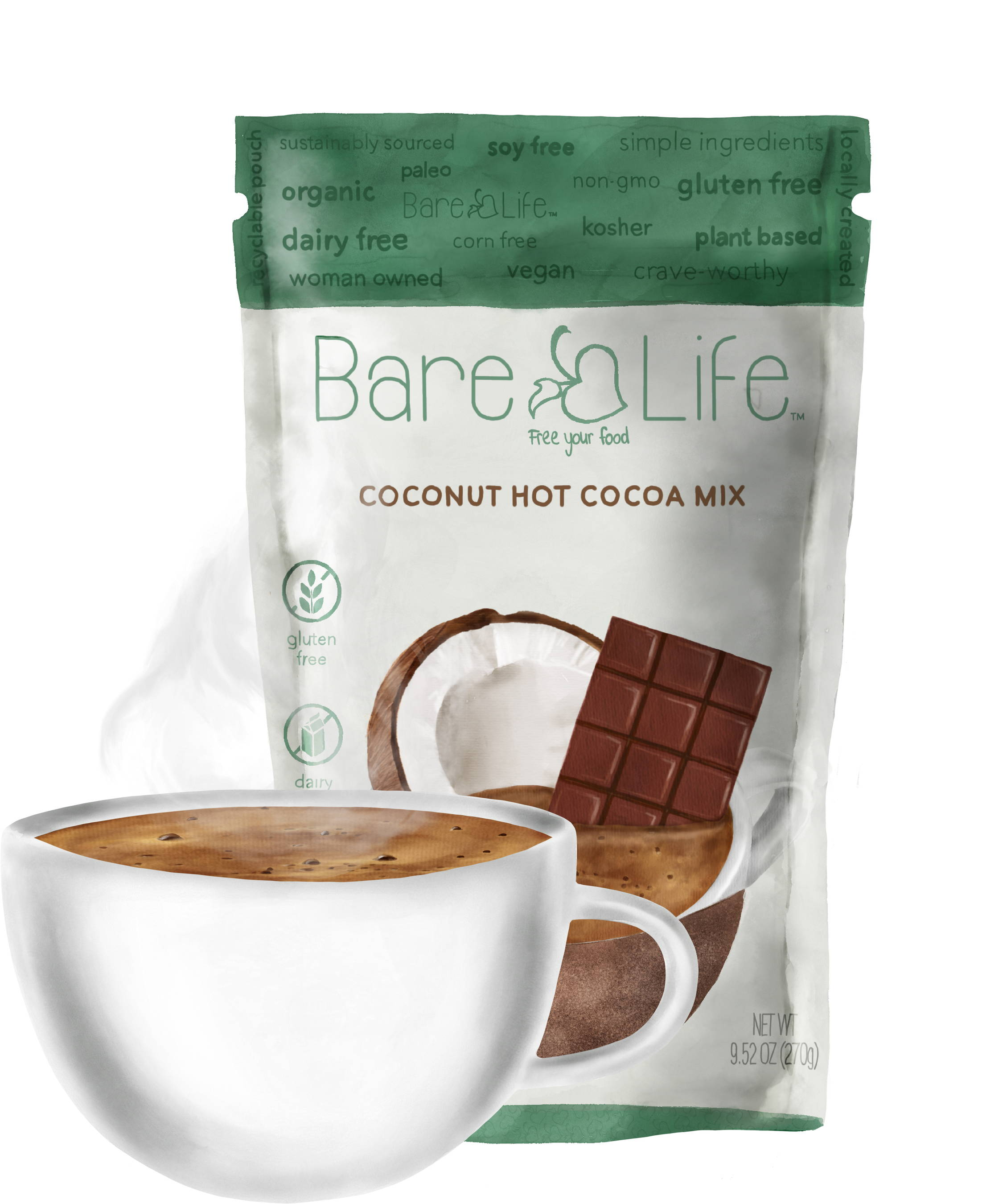 Recyclable Flexible Packaging for Bare Life Coconut Hot Cocoa Mix