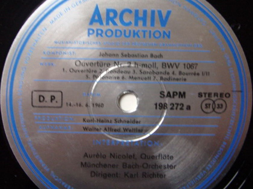 ★1st Press★ Archiv / RICHTER, - Bach Overtures No.2 & 3,  NM!