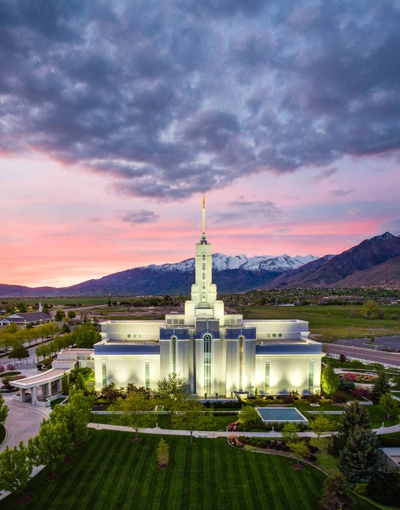 LDS art photo of the Mount Timpanogos Temple and surrounding areas from above.
