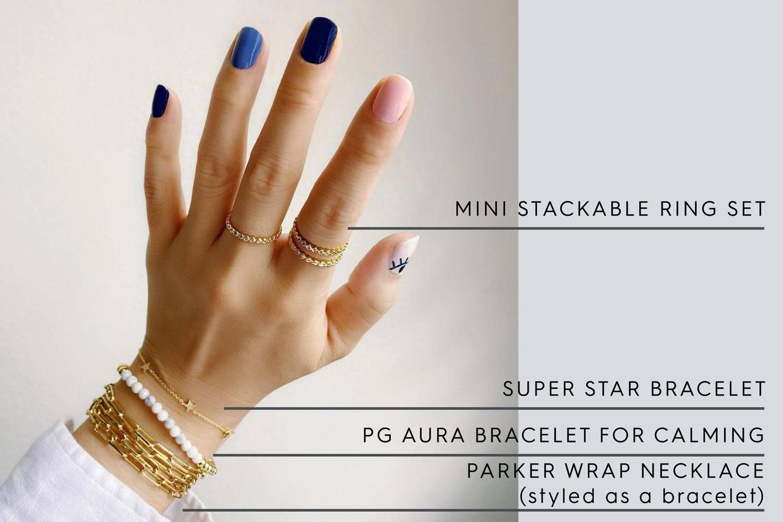 Mini Stackable Ring Set | Super star bracelet | PG Aura Bracelet for Calming | Parker Wrap Necklace (styled as bracelet