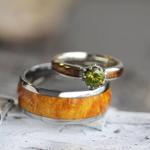 wood wedding ring set peridot engagement ring