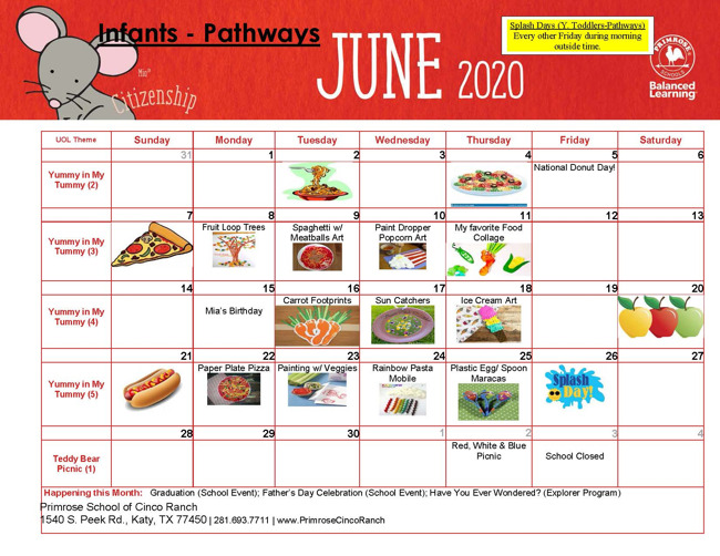 infant and pathways june calendar