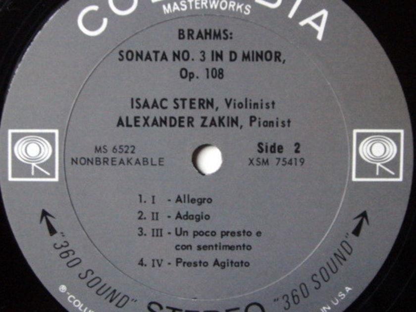 Columbia 2-EYE / STERN-ZAKIN, - Brahms Violin Sonatas No.1 & 3, MINT, Rare 1st Press Promo Copy!