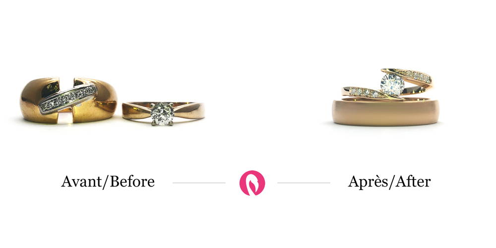 Transformation of two yellow gold rings with diamonds into a wide semi-eternity solitaire in yellow gold
