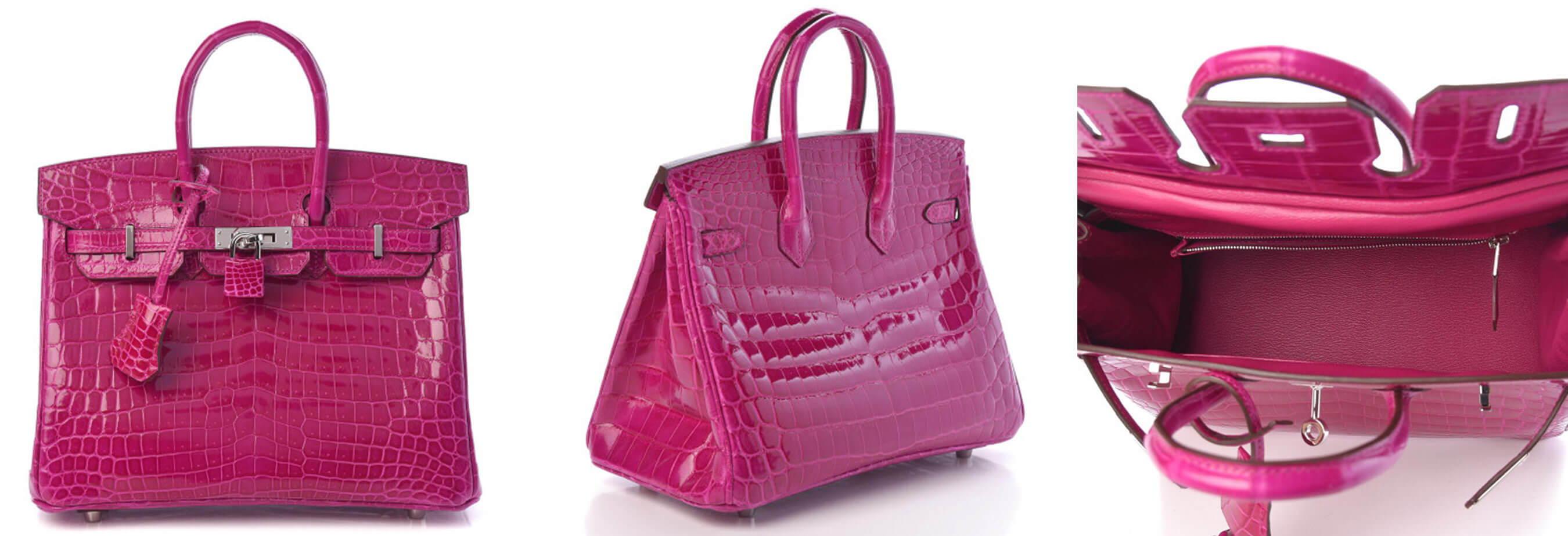 Hermes Shiny Porosus Crocodile Birkin Pink