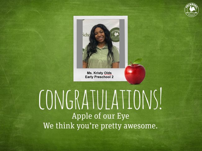 image of a teacher smiling set inside a frame that says apple of our eye with an image of an apple