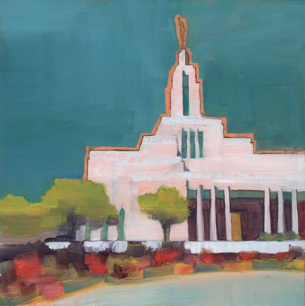 LDS art painting of the Draper Utah Temple.
