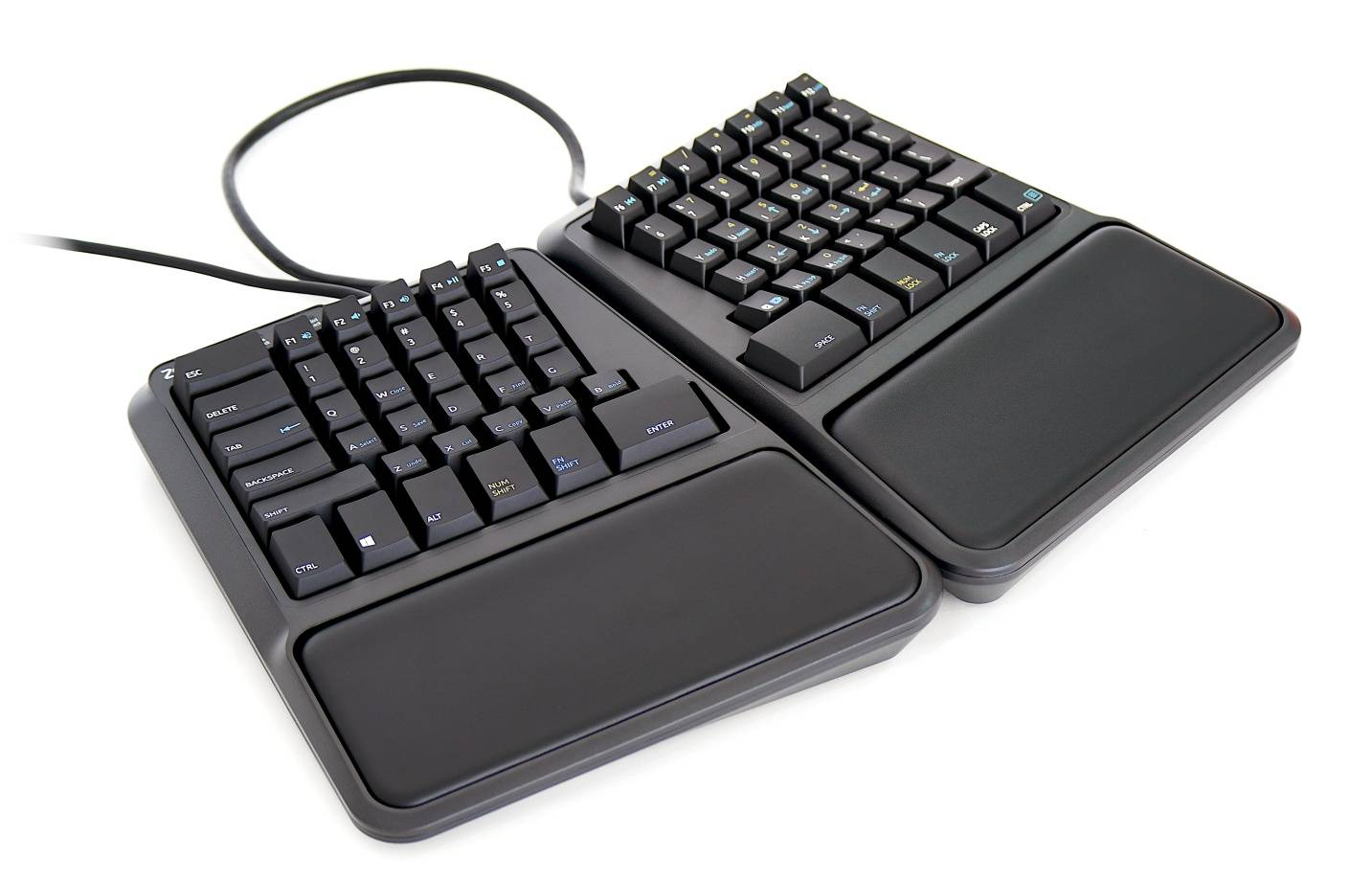 Zergotech Freedom top hero view mechanical keyboard ergonomic fixed palm rests