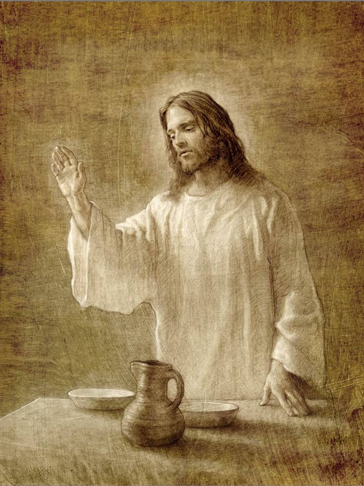 Sketch of Jesus Christ teaching about the sacrament during the Last Supper.