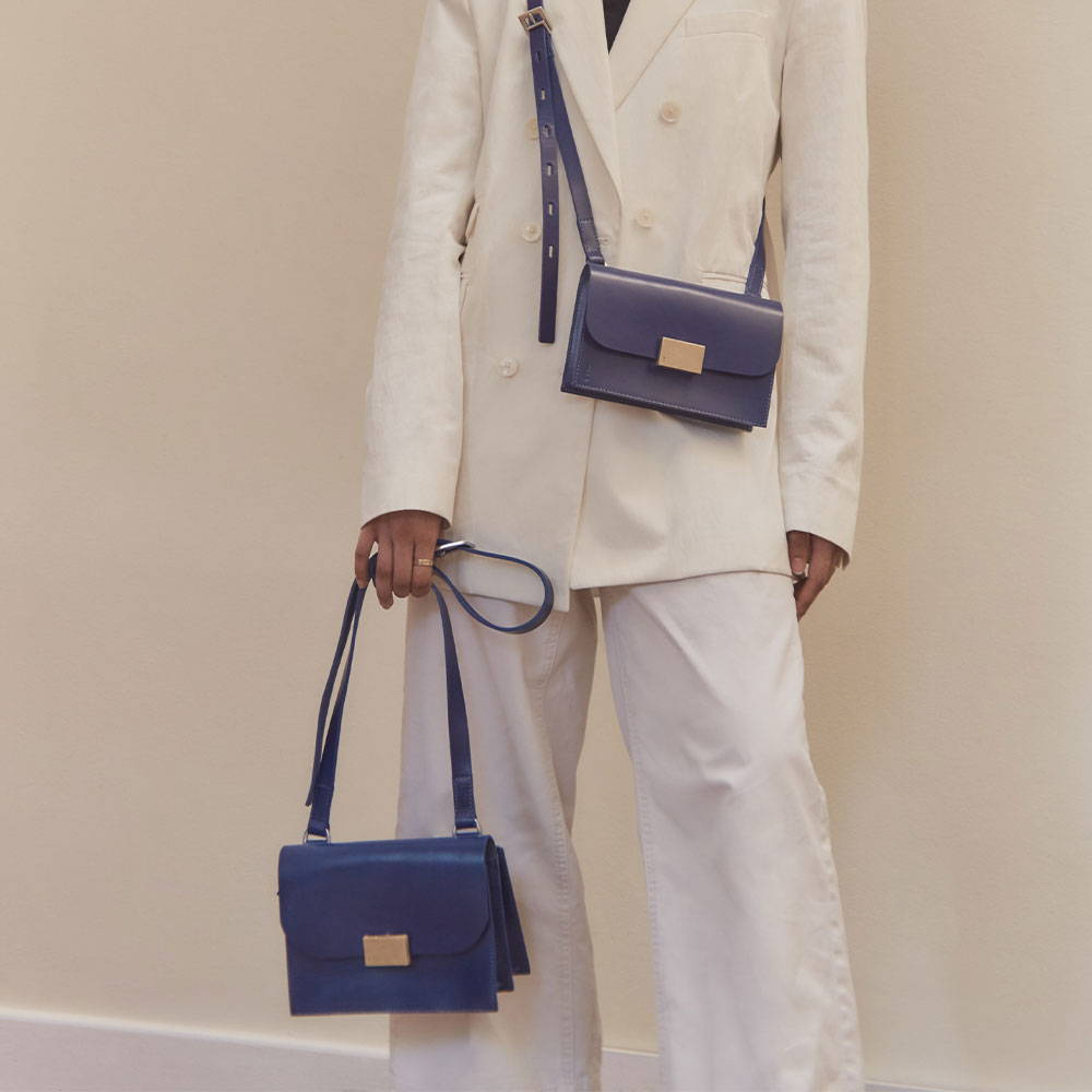 Ally Capellino SS21 Campaign Lockie Leather Handbags in Blue