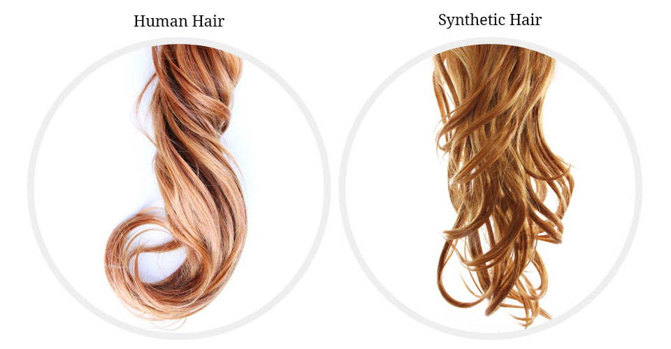 Synthetic hair and human hair