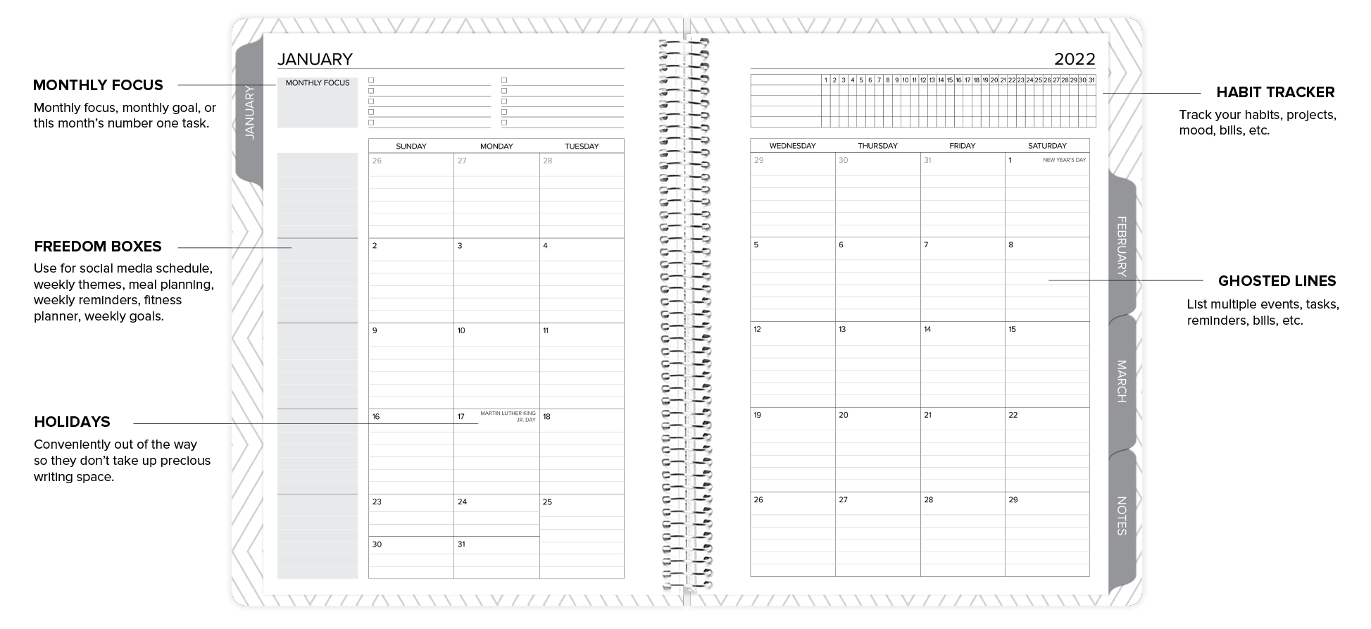 amplify planner monthly layout