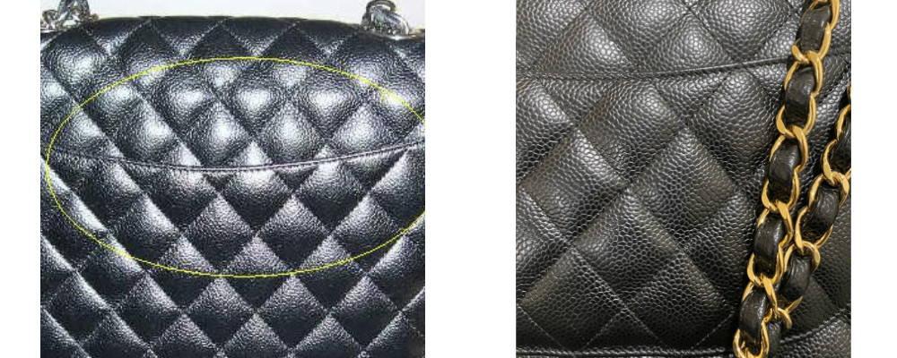 Authentic vs Fake Chanel Quilting Comparison