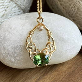 R.E. Piland Goldsmith One of a Kind Gold & Tourmaline Pendant Celtic Festival Online