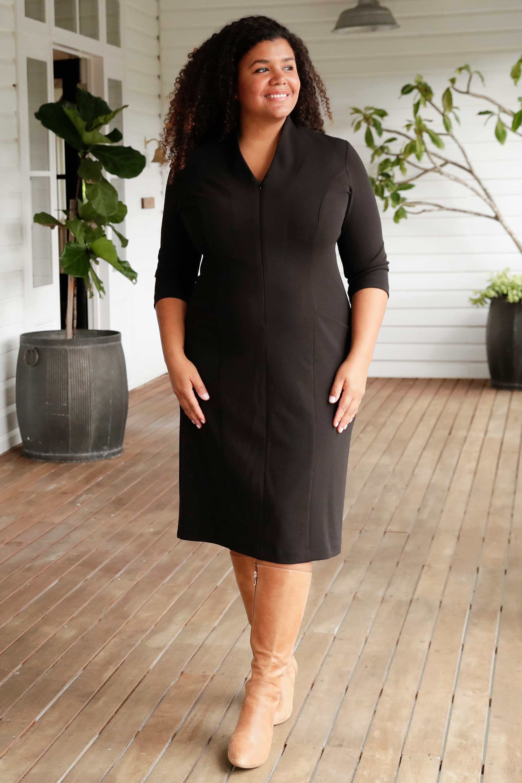 Leina & Fleur have Designed the Asta Dress in Black for the Professional Woman. Comfortable and Stylish Dress for Work. Leina & Fleur are Proudly Australian Made and Carry Sizes 8 to 24.