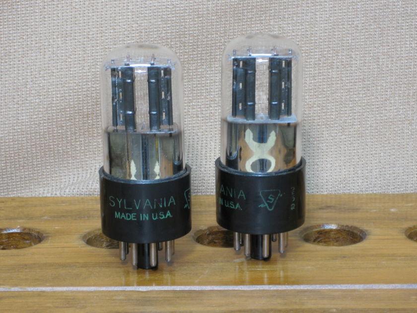 Sylvania  6SN7GT 3 Holes plate Bad Boy Matching pair