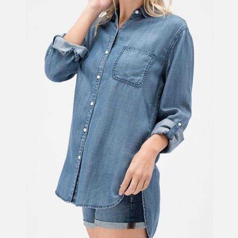EcoVibe Apparel Maggie's Tencel Denim Button Up Shirt