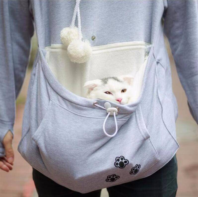 hoodie for cat, cat pouch carrier, the kitty pouch