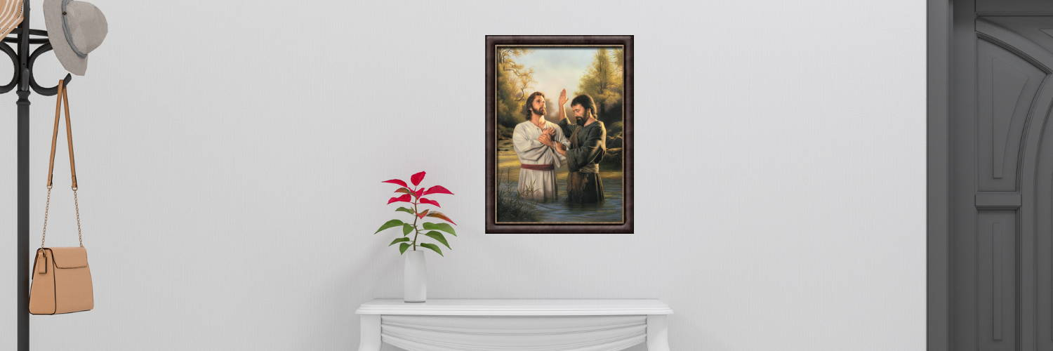 Environment shot of a hallway displaying a framed painting of Jesus being baptized.