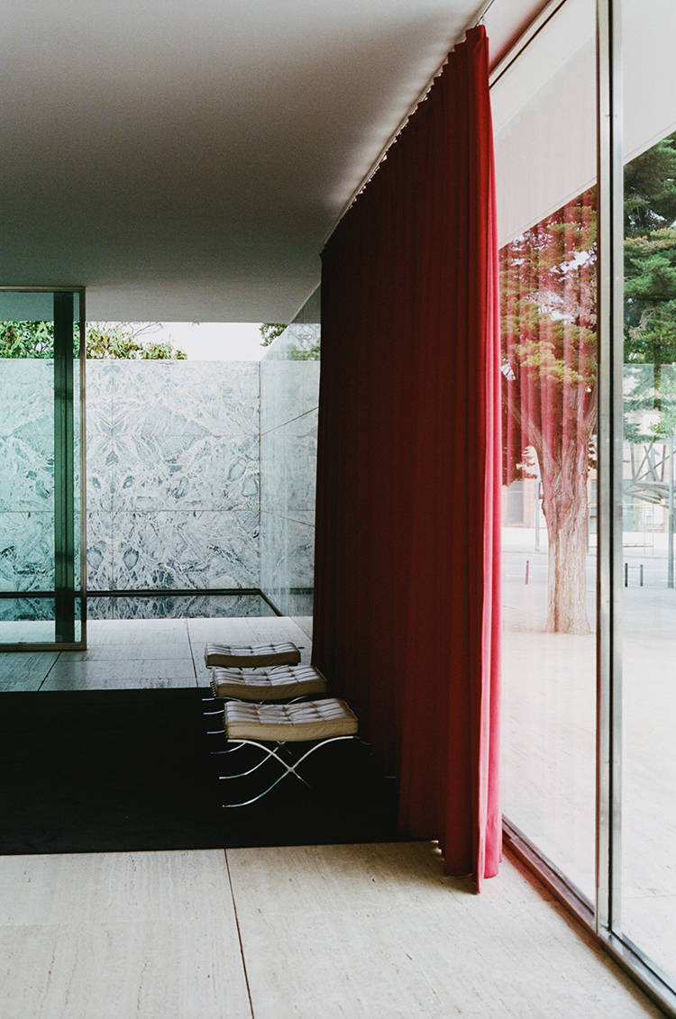 Barcelona Pavilion, designed by Mies van der Rohe | Photographed by Hannah Davis for Wolf & Moon