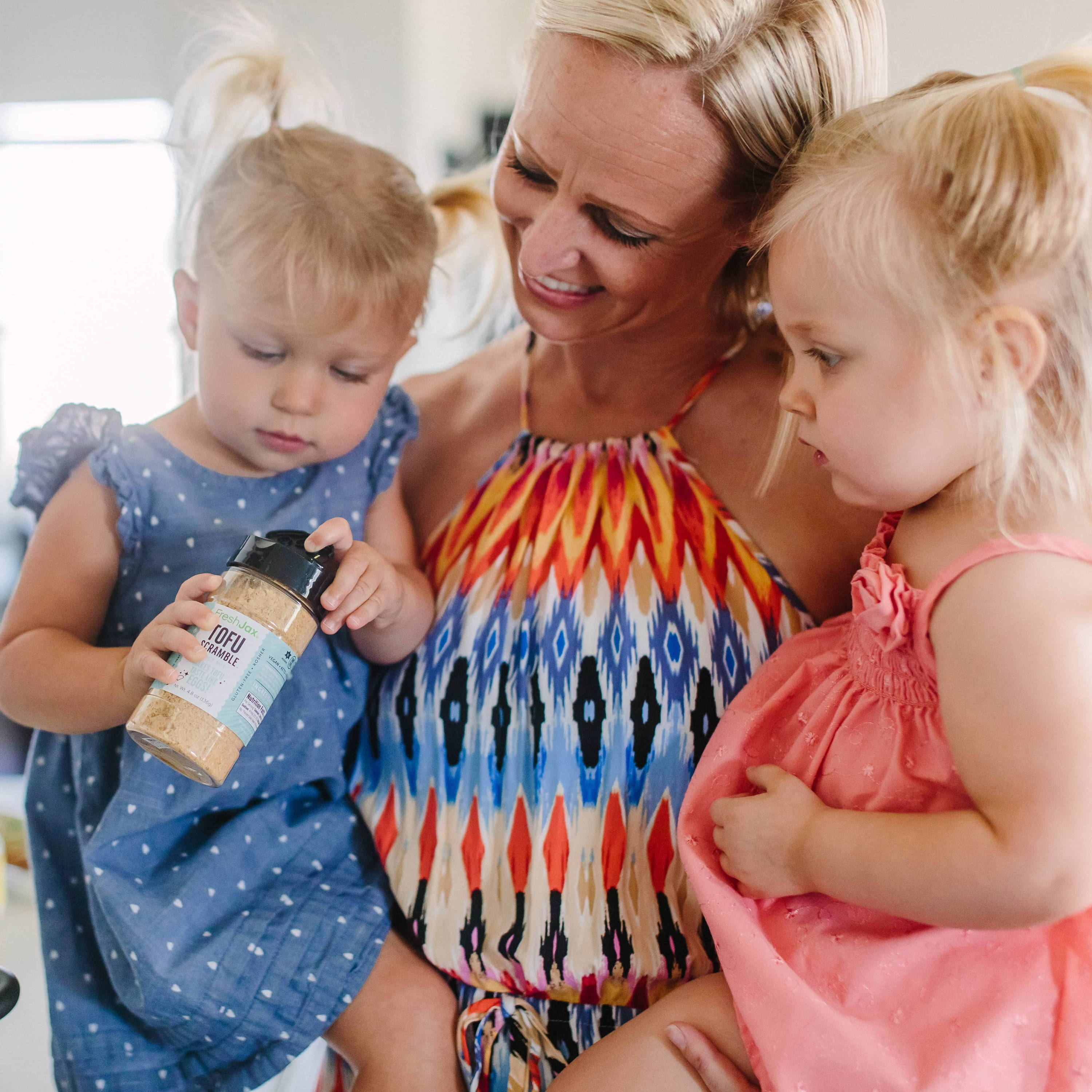 Children and mother with Tofu Scramble vegan spice mix