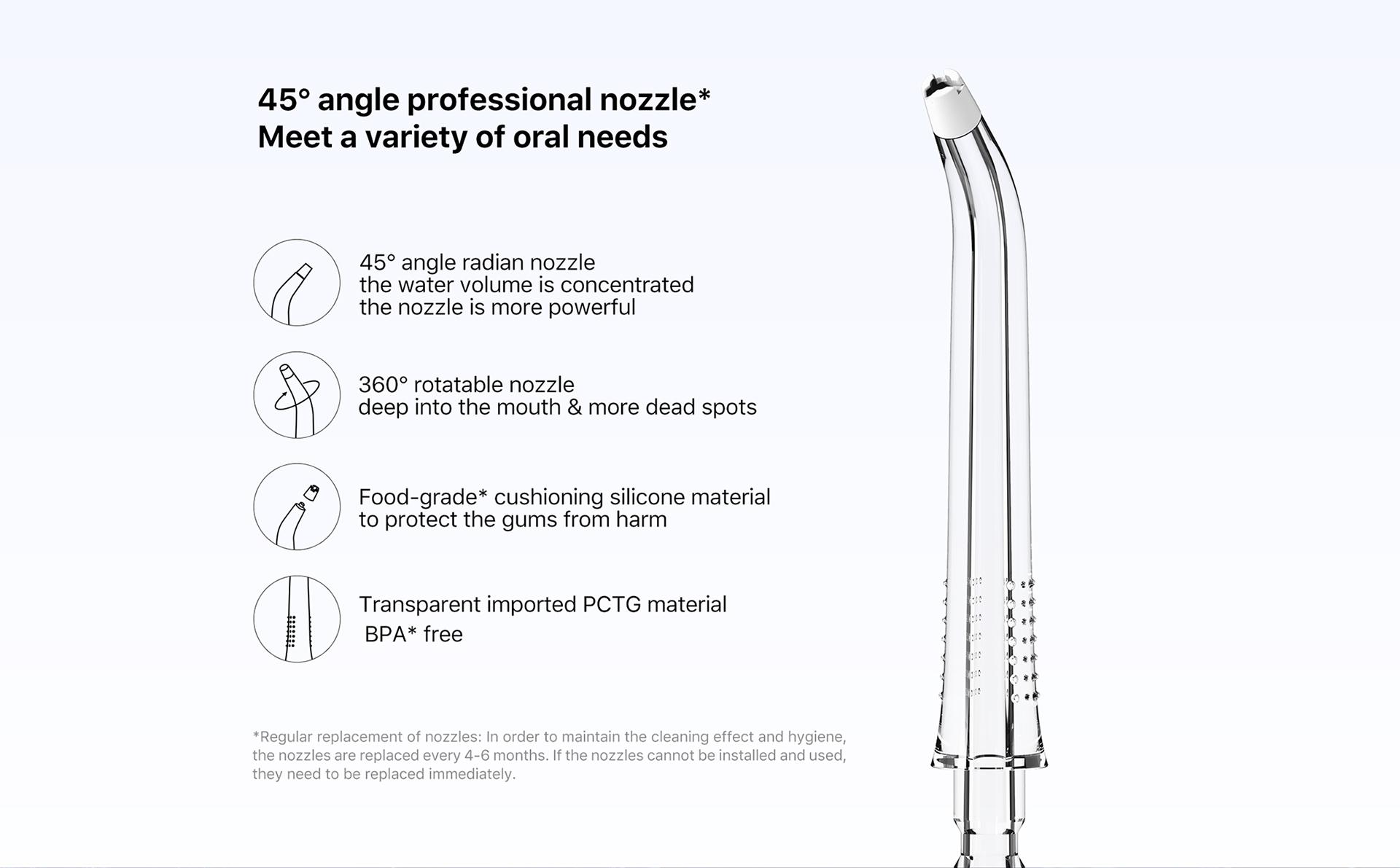 professinal nozzle meet a variety of oral needs food=grade cushioning silocone material