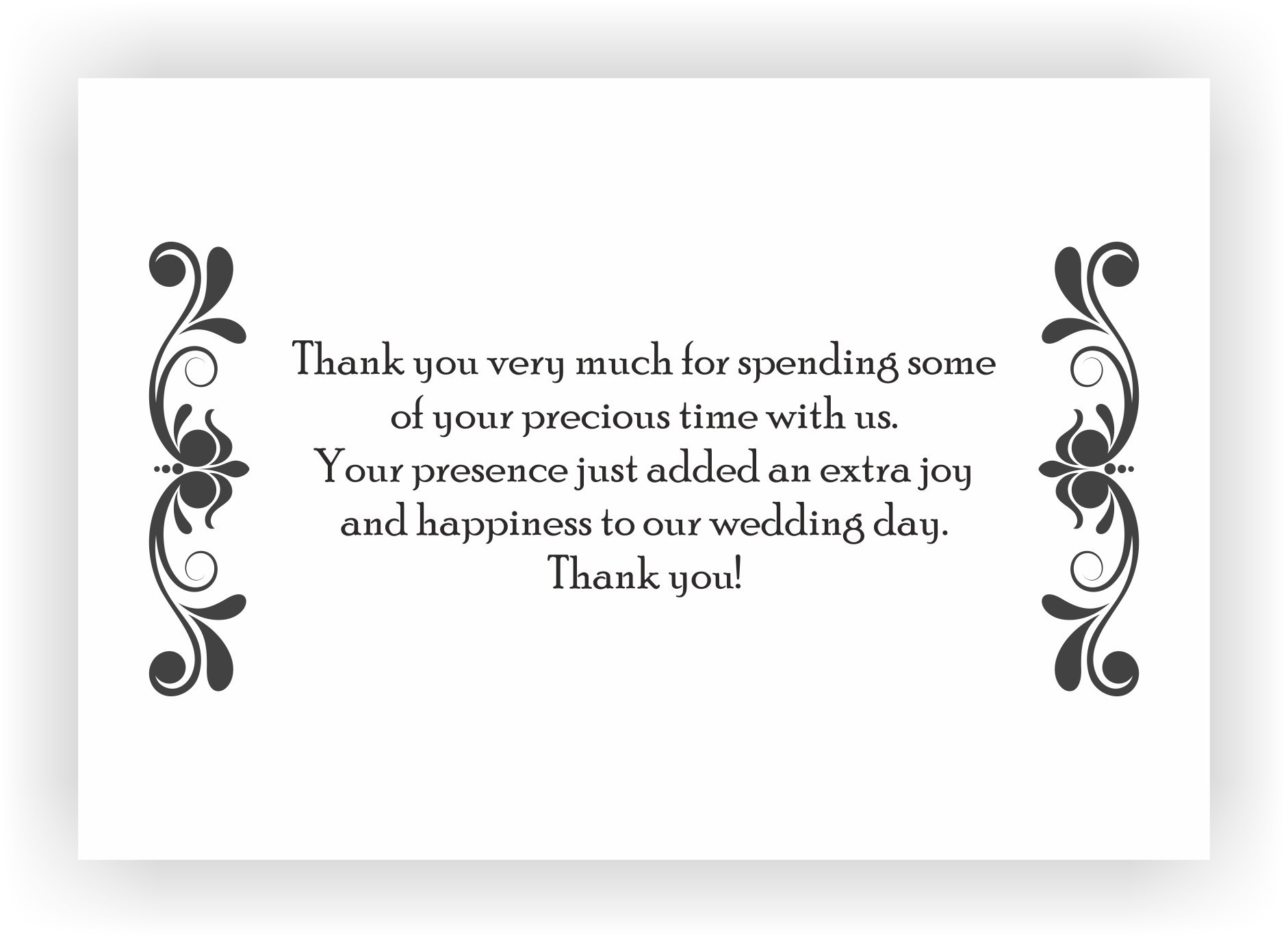 Thank you note for wedding guests