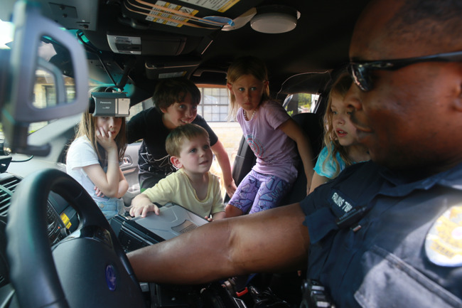 Police car with kids