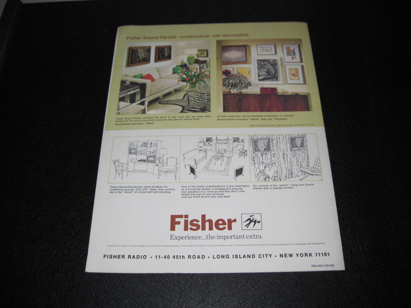 FISHER SOUND PANEL SPEAKERS - -ORIGINAL PRODUCT BROCHURE- FAST SHIPPING