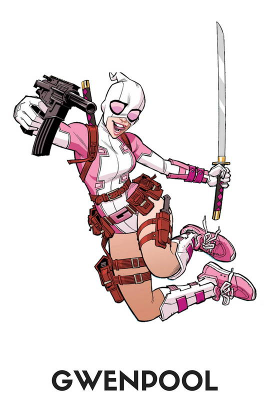 Gwenpool Action Figures, Toys, Bobbleheads, Pops, Statues, Keychains, Wallets, Mobile Phone Cases, Laptop Skins, T-shirts, mugs and more, free shipping across India