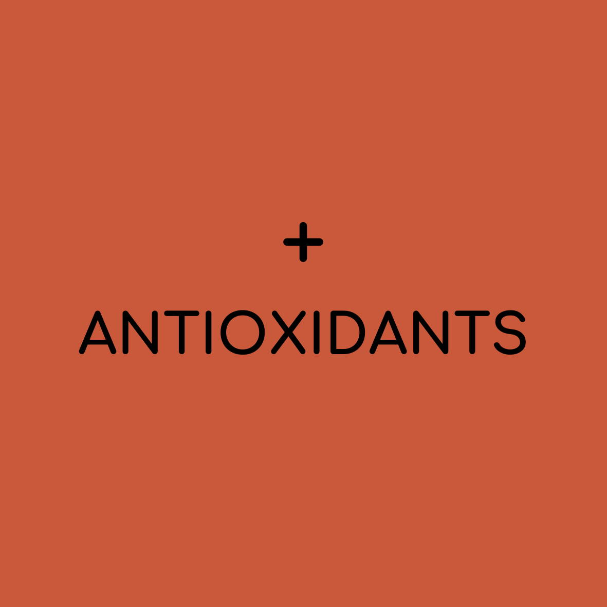 "solid background with plus sign and ""antioxidants"""
