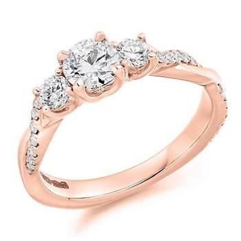 Trilogy diamond engagement rings from Pobjoy Diamonds