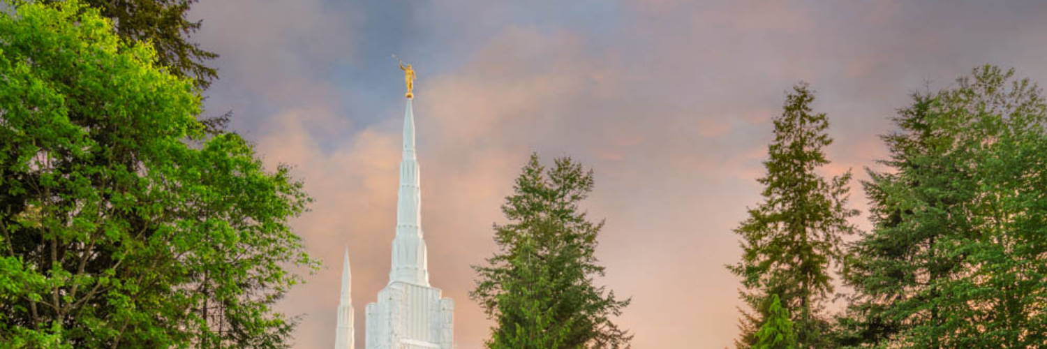 Photo of the Portland Temple steeple.