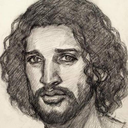 Sketched portrait of Jesus Christ.