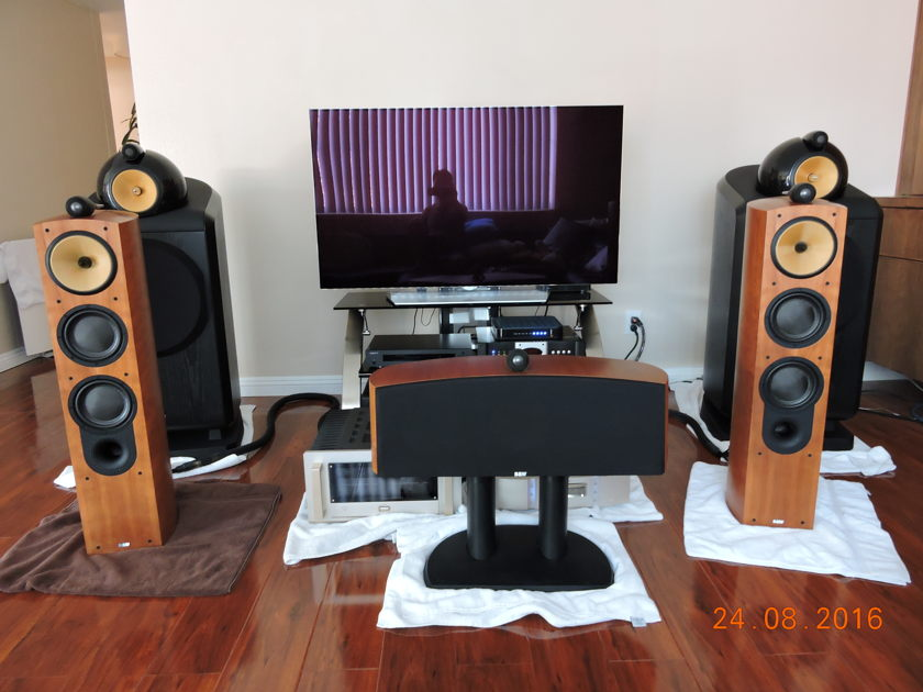 Bowers & Wilkins Nautilus 804  speakers in light cherry