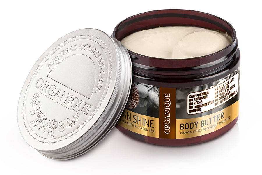 Organique regenerating natural argan shine shea body butter for dry and sensitive skin 150ml box