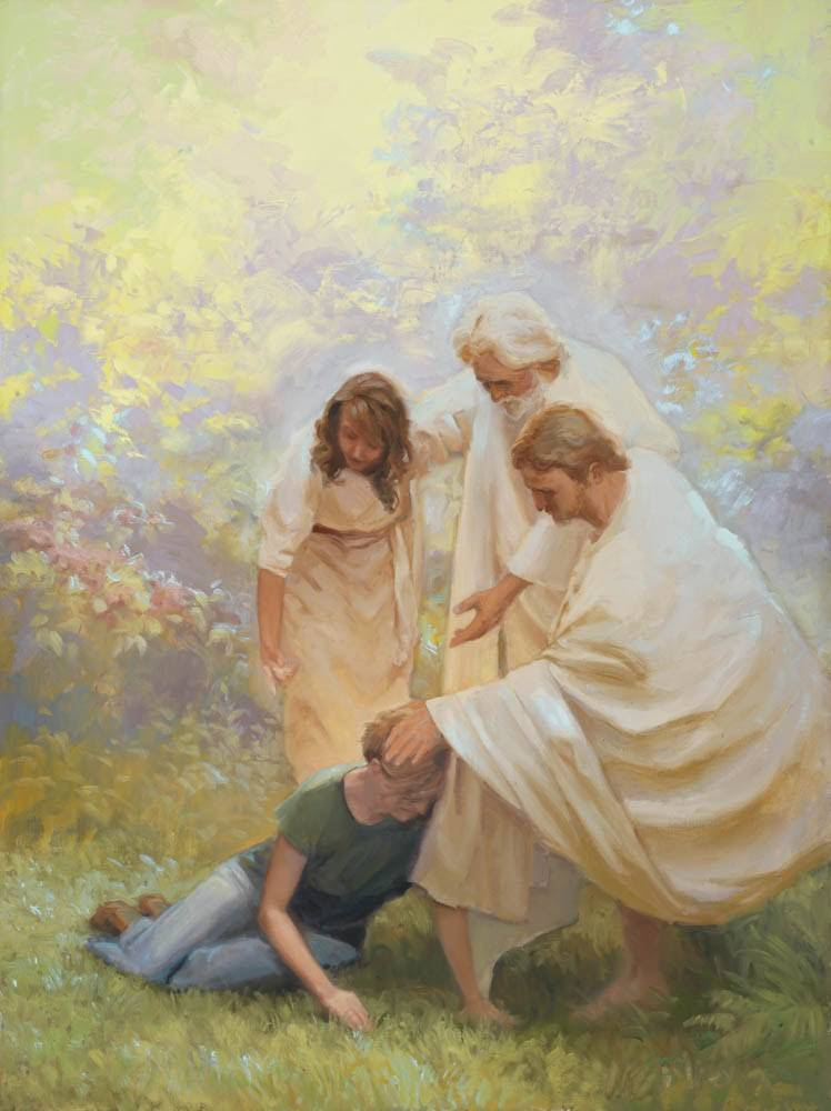 Three angels comfort a weeping woman.