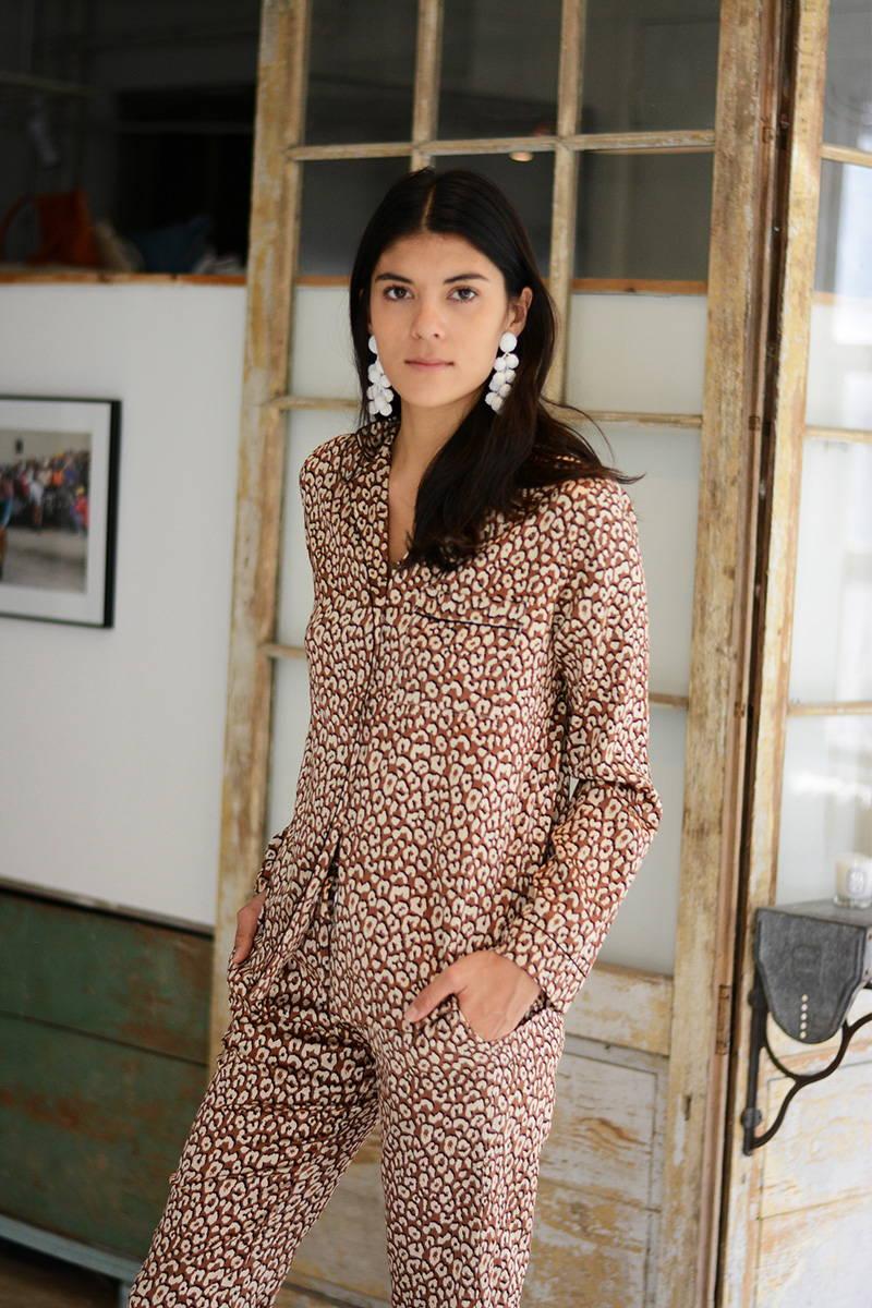 Neada Jane in YOLKE's Leopard Print Silk Pyjamas