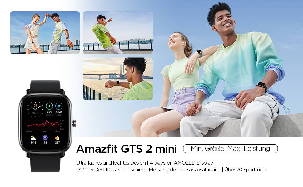 Amazfit GTS 2 mini - Schlanke Erscheinung - starker Auftrit Ultraflaches und leichtes Design I Always-on-AMOLED-Display Messung der Blutsauerstoffsättigung I 70+ Sportmodi