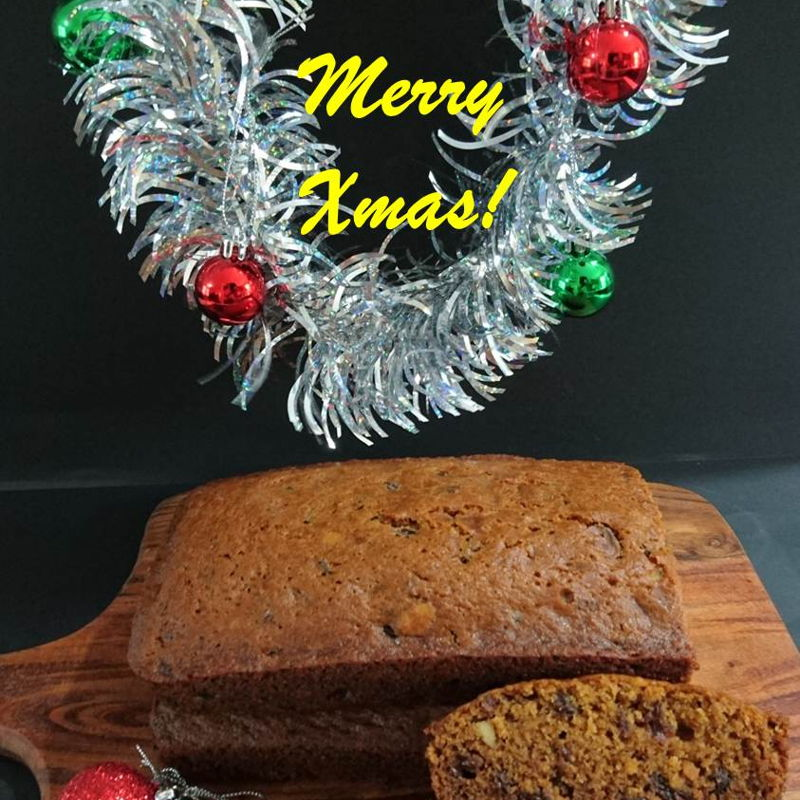 "Date: 22 Dec 2019 (Sun) 23rd Dessert: Fruit Cake - Super Moist (Kek Buah) [153] [131.4%] [Score: 9.5] Cuisines: American Dish Type: Dessert Do I hear the shouts of Christmas? Here I come!  This fruit cake is super charged with Bacardí Carta Blanca – Superior White Rum (37.5% alc./vol.) instead of water and Cointreau Blood Orange (30% alc./vol.) instead of orange oil.   However, I have used two 9"" loaf pans instead of two 7"" loaf pans. Also, I've tried to find red and green cherries mixed fruit but apparently all sold out probably due to the coming Christmas. So, only the exterior has Christmas cheer, but the inside is...without soul and dark of sultanas, raisins, currants, with a shade of yin from cut almonds and cashew nuts. Regardless, one of the judges gave this a 9.5 for its superb taste.  Vielen Dank ""Nyonya Cooking"" für das Rezept und die frohen Weihnachten."