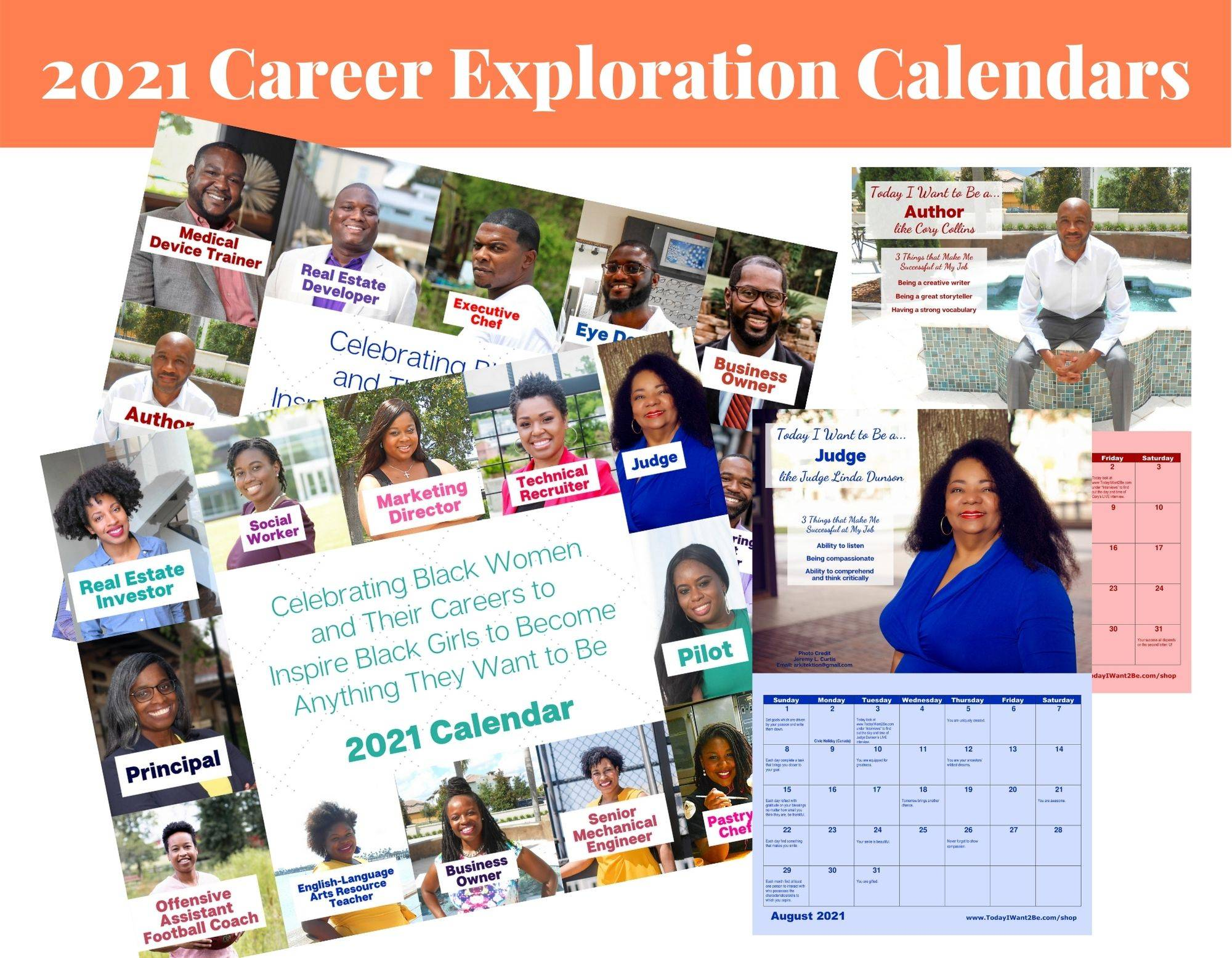 12 month 2021 career exploration resource wall calendar of black african American women and men with their job titles