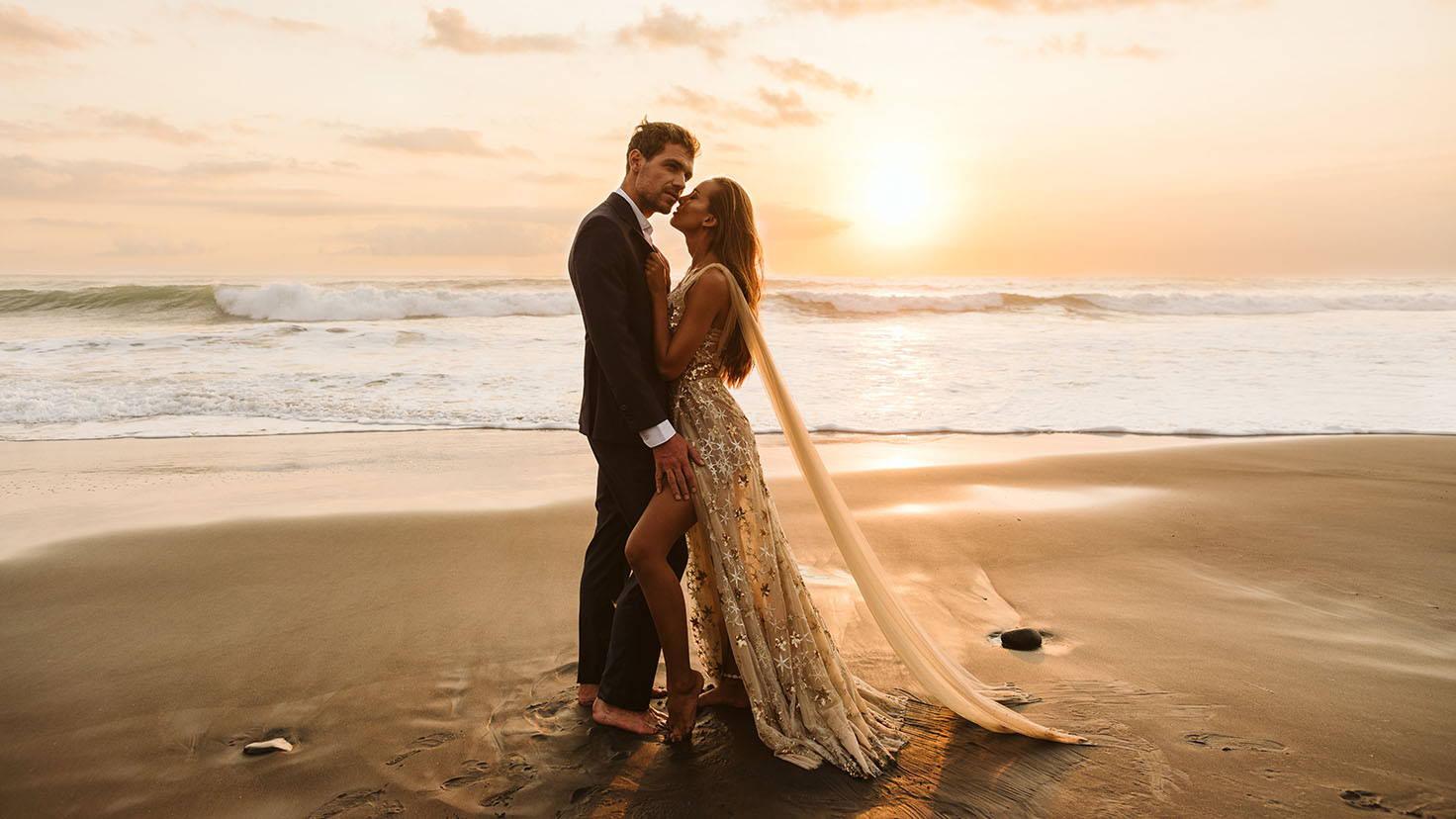 Elizabeth Grace couture wedding beach