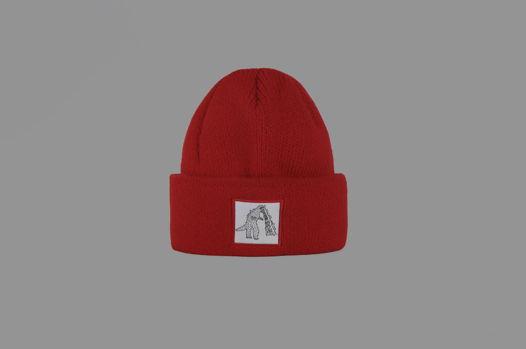 Красная шерстяная шапка с Годзиллой