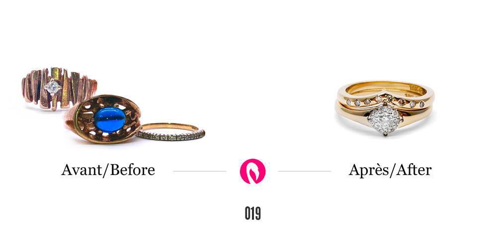 Transformation de plusieurs bagues d'héritage en une bague de fiançailles solitaire avec un diamant de 1 carat et une alliance de mariage.