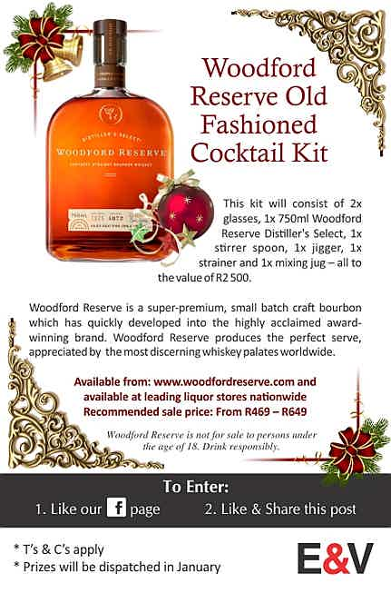 South Africa - This kit will consist of 2x glasses, 1x 750ml Woodford Reserve Distiller's Select, 1x stirrer spoon, 1x jigger, 1x strainer and 1x mixing jug – all to the value of R2 500. Woodford Reserve is a super-premium, small batch craft bourbon which has quickly developed into the highly acclaimed award-winning brand. Woodford Reserve produces the perfect serve, appreciated by the most discerning whiskey palates worldwide.