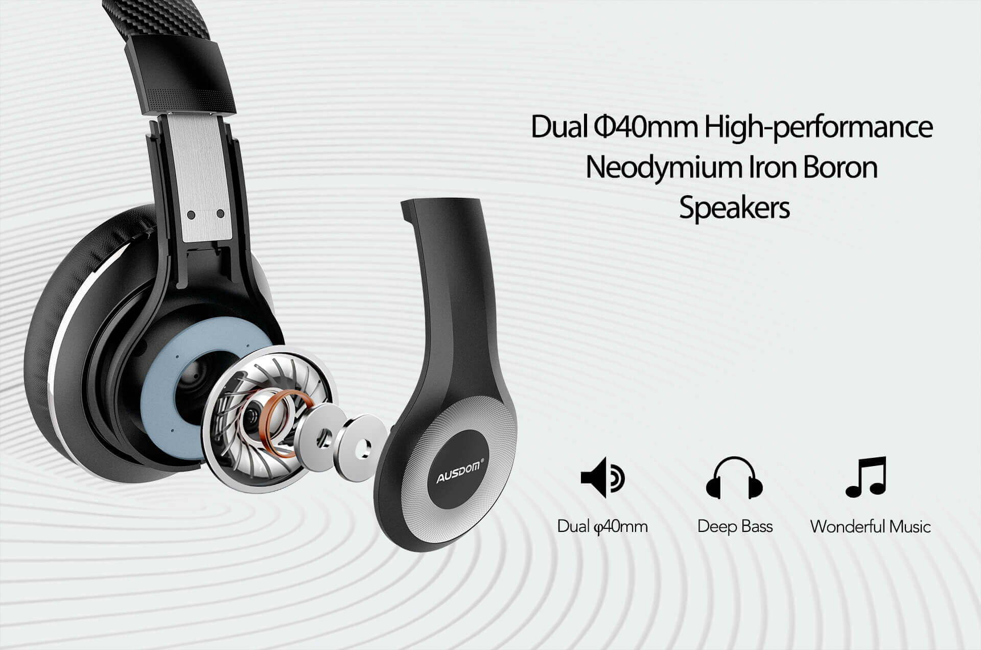 Superior Sound Quality, Dual 40mm Drivers
