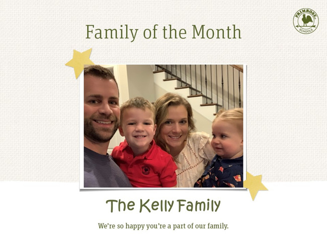 family of the month, Kelly family, daycare, primrose creekside park