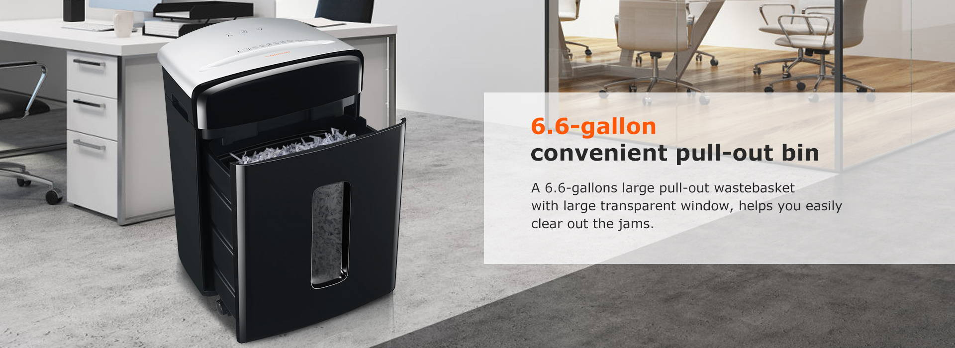 6.6-gallon convenient pull-out bin A 6.6-gallons large pull-out wastebasket with large transparent window, helps you easily clear out the jams.