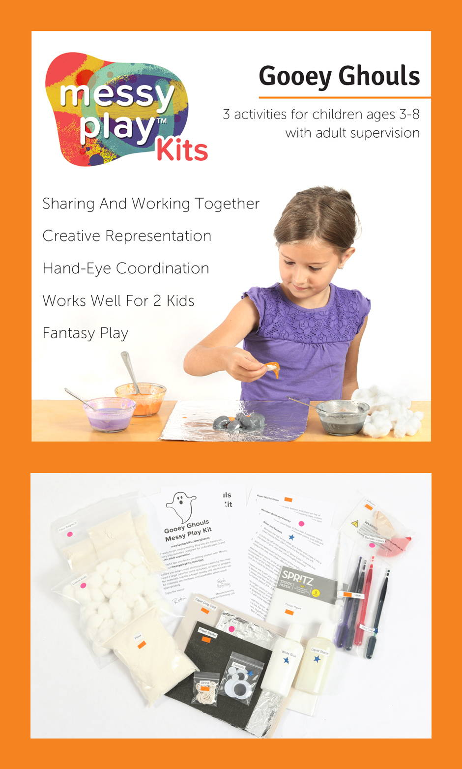 Gooey Ghouls Messy Play Kit contains 3 activities that teach sharing and working together, creative representation, hand-eye coordination, fantasy play. Works well for 2 kids.