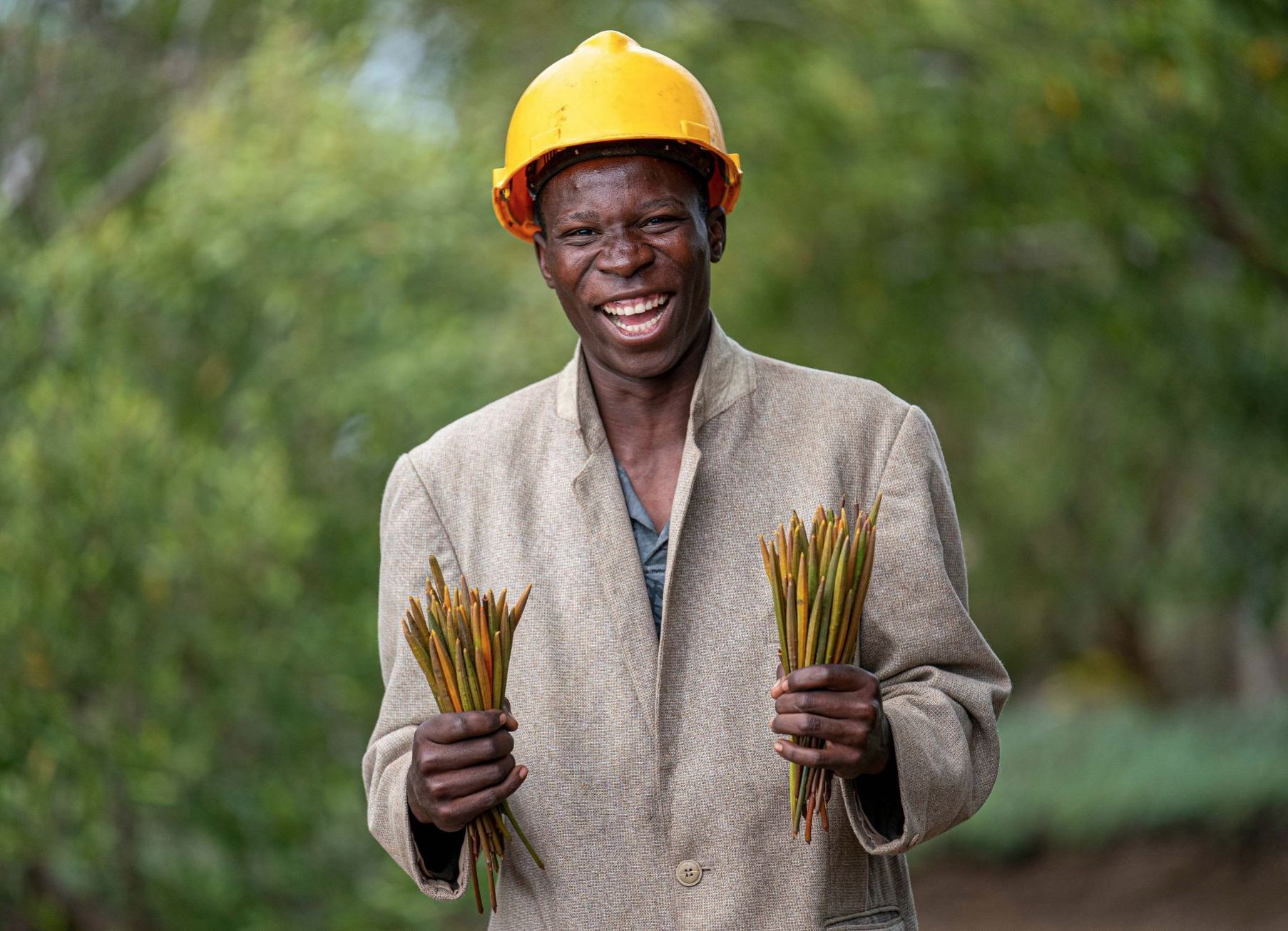A worker photographed in 2019 at one of the Eden Reforestation Project's sites in Mozambique.